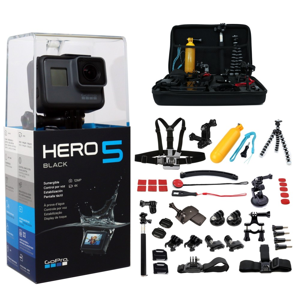 deal gopro hero5 black edition 45pcs mega accessories. Black Bedroom Furniture Sets. Home Design Ideas