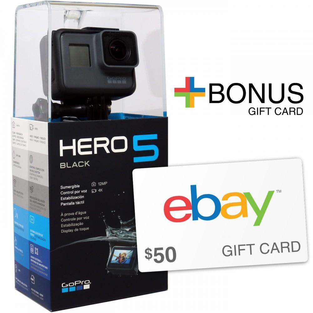 Ebay Digital Gift Card: GoPro Hero5 Black Action Camera + $50 EBay Gift Card With